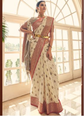 Off White Traditional Saree For Festival