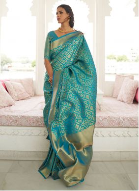 Turquoise Traditional Saree For Festival