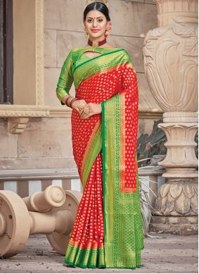 Red Traditional Saree For Mehndi