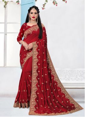 Red Traditional Saree For Party
