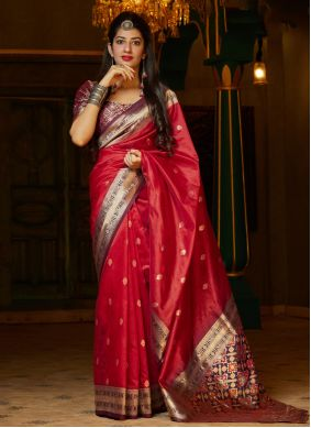 Red Traditional Saree For Reception