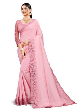 Traditional Saree Sequins Crepe Silk in Pink