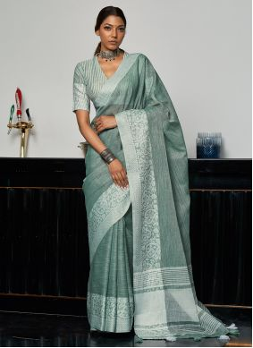 Traditional Saree Weaving Linen in Green