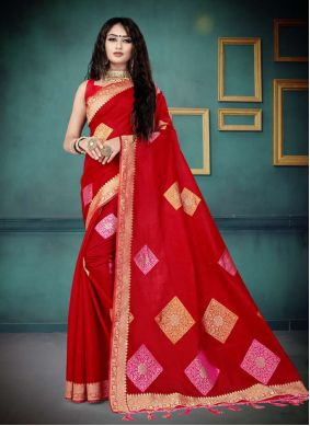 Traditional Saree Weaving Silk in Red