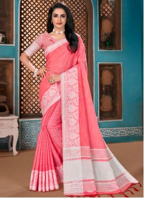 Traditional Saree Woven Cotton in Pink