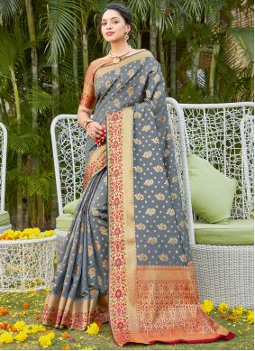 Traditional Saree Woven Silk in Grey