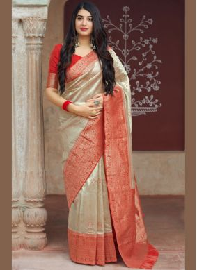Transcendent Beige Traditional Saree