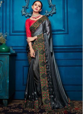 Transcendent Patch Border Black and Grey Shaded Saree
