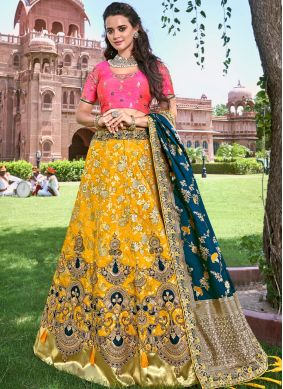 Trendy Designer Lehenga Choli Embroidered Banarasi Silk in Yellow