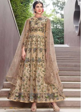Trendy Embroidered Gold Net Designer Gown