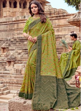 Trendy Embroidered Viscose Sea Green Traditional Saree