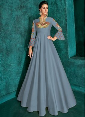 Trendy Gown Embroidered Silk in Grey