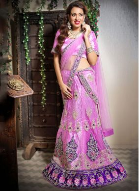 Trendy Lehenga Choli Resham Net in Pink