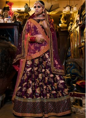 Trendy Purple Resham Lehenga Choli