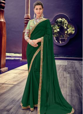 Trendy Saree Border Faux Chiffon in Green