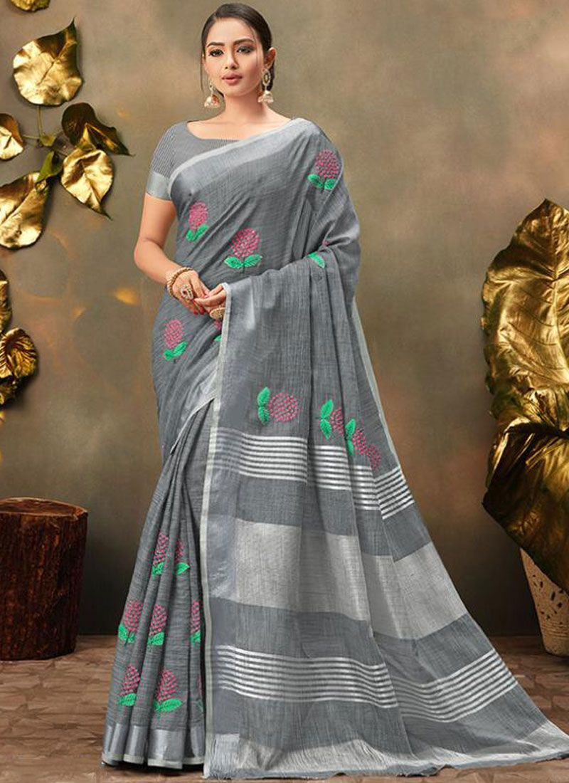 Trendy Saree Embroidered Cotton in Grey