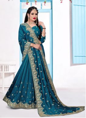 Teal Trendy Saree For Festival