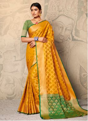Yellow Trendy Saree For Party