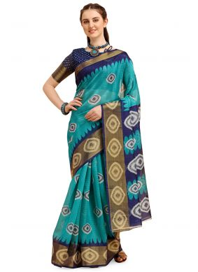 Turquoise Casual Poly Cotton Casual Saree