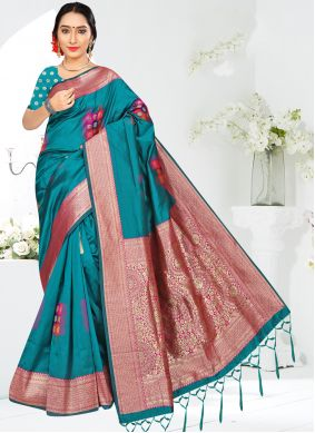 Turquoise Casual Silk Casual Saree