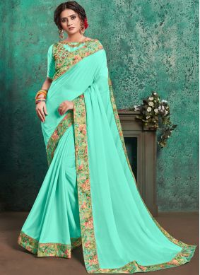 Turquoise Color Traditional Saree