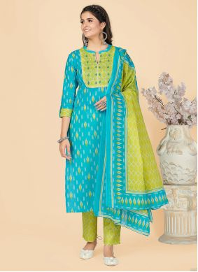 Turquoise Cotton Casual Party Wear Kurti