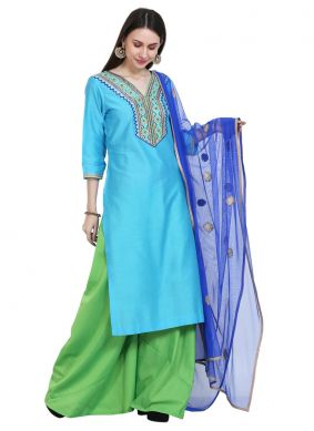 Turquoise Cotton Silk Readymade Salwar Suit