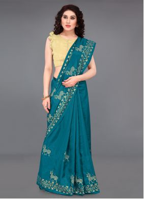 Turquoise Embroidered Casual Saree