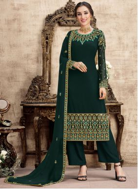 Turquoise Embroidered Georgette Designer Palazzo Salwar Suit