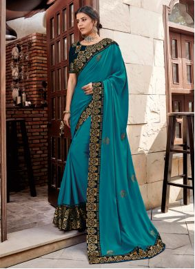 Turquoise Embroidered Georgette Satin Trendy Saree