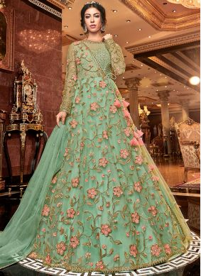 Turquoise Embroidered Net Trendy Anarkali Salwar Suit