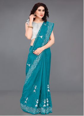 Turquoise Embroidered Traditional Designer Saree