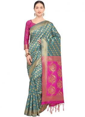 Turquoise Festival Traditional Saree