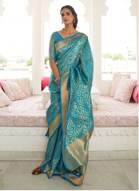 Turquoise Handloom silk Festival Designer Saree