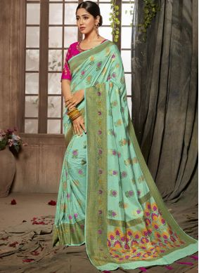 Turquoise Jacquard Silk Designer Traditional Saree