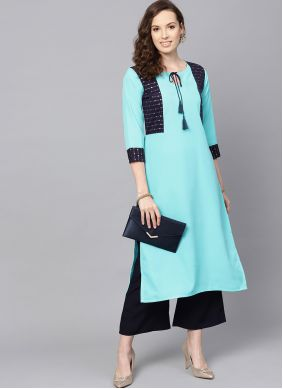 Turquoise Party Casual Kurti