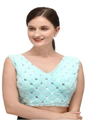 Turquoise Party Designer Blouse