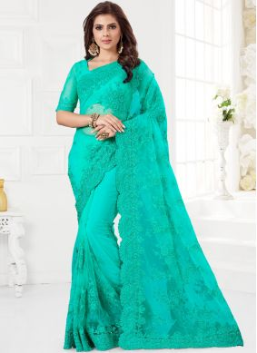 Turquoise Party Net Classic Saree