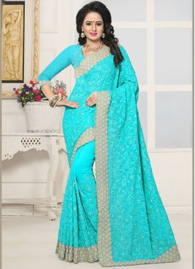 Turquoise Patch Border Faux Georgette Classic Saree