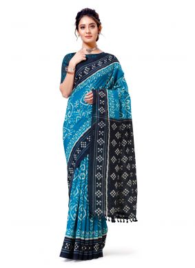 Turquoise Printed Festival Casual Saree