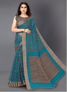 Turquoise Printed Party Designer Saree