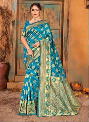 Turquoise Weaving Banarasi Silk Classic Saree