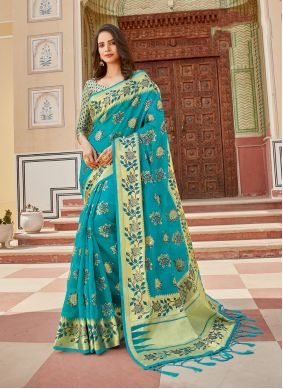 Turquoise Weaving Organza Traditional Saree