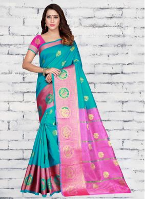 Turquoise Woven Casual Half N Half  Saree