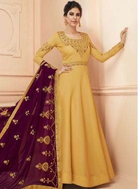 Tussar Silk Resham Floor Length Anarkali Suit in Mustard