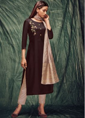 Tussar Silk Zardosi Work Casual Kurti in Brown