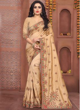 Unique Art Silk Beige Embroidered Traditional Saree