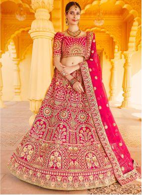Pink Velvet A Line Lehenga Choli