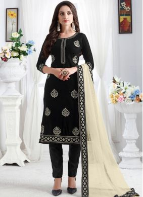 Velvet Black Embroidered Churidar Designer Suit