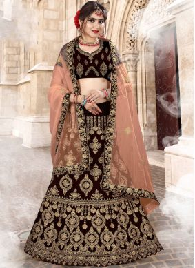 Velvet Brown Lehenga Choli